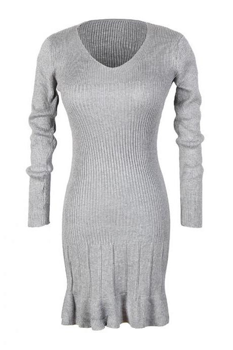 Women Round Neck Knitted Slim Bodycon Sweater Dress