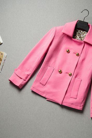 Fashion Pink Short Trench Coat For Women