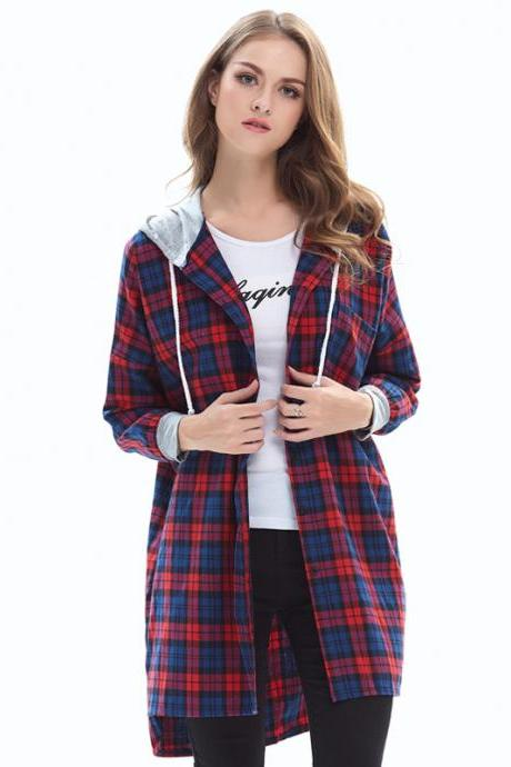Spring New Long Sleeve Plaid Loose Fashion Long Style Shirt - Red