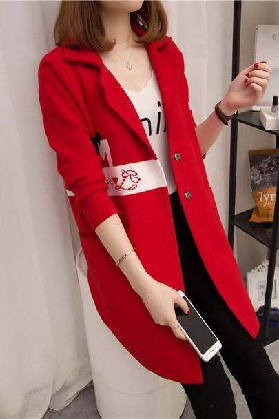 Womens Sweater Long Sleeve Knitted Cardigan Outwear Coat - Red