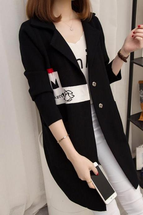 Womens Sweater Long Sleeve Knitted Cardigan Outwear Coat - Black