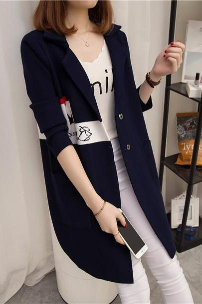 Womens Sweater Long Sleeve Knitted Cardigan Outwear Coat - Navy Blue