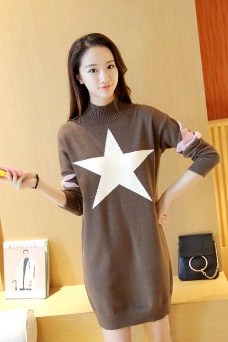 New Women star Printing Long Sweater Dress - Khaki