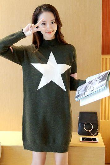 New Women star Printing Long Sweater Dress - Amy Green