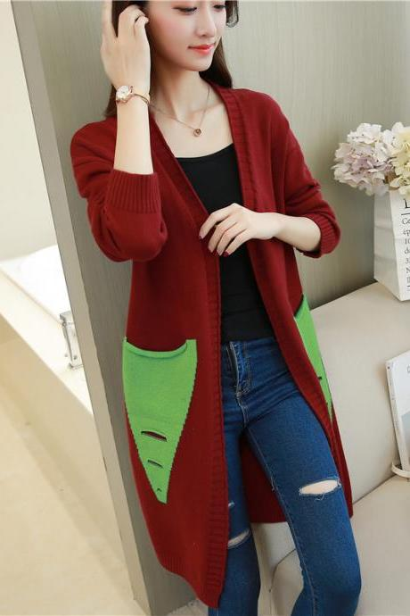 Long Cardigan Women Autumn Winter Female Long Sleeve Cardigan Slim Pockets Sweater Knitted Cardigans Women Tops - Wine Red