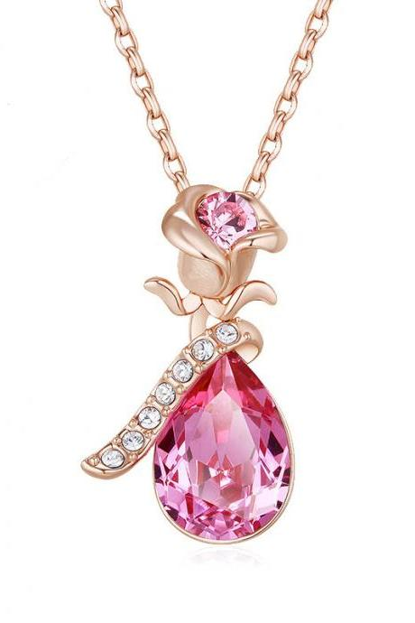 Fashion Women's Crystal Pendant Necklace - Rose