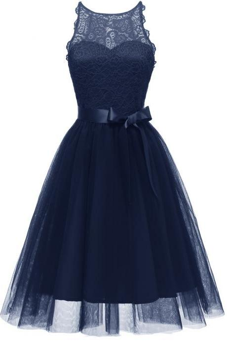 Princess Style A Line Halter Neck Sleeveless Hollow Lace Floral Bridesmaid Wedding Dress - Navy Blue