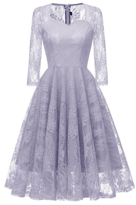 New Style O Neck Half Sleeveless Lace Paty Dress - Light Purple