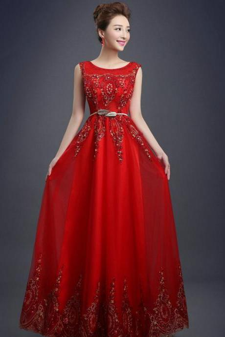 Tulle Lace Evening Dress Long Beading Formal gown Prom Embroidery Bride Dresses - Red