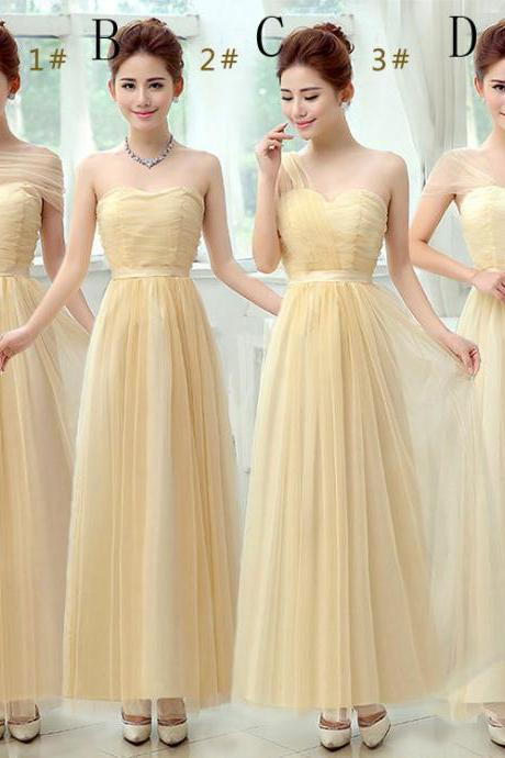 Beautiful Long Evening Dresses Bridesmaid Dresses - Beige