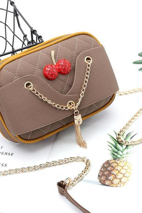 Lovely Women Mini PU Leather Shoulder Bag - khaki