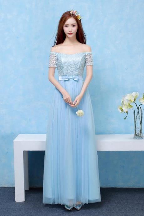 Bridesmaid Dresses Long Prom New Style Fashion Women Wedding Party Dress - Sky Blue
