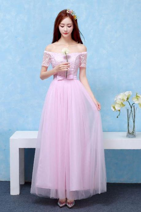 Bridesmaid Dresses Long Prom New Style Fashion Women Wedding Party Dress - Pink