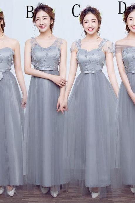 Fashion Long Bridesmaid Dresses Wedding Dress Prom Party Dress For Women - Grey