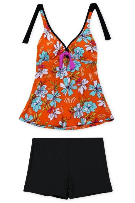 New V Neck Halter Print Swimsuit Set - Orange