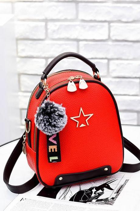 Nice Star pattern Handbag PU Leather Backpacks For Women - Red