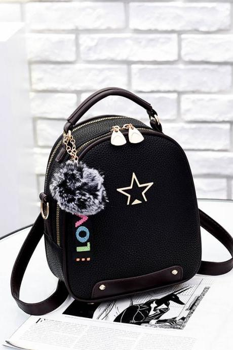 Nice Star Pattern Handbag PU Leather Backpacks For Women - Black