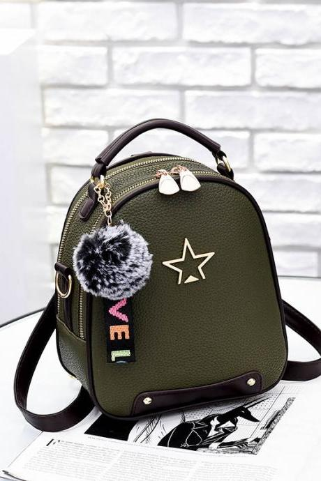 Nice Star Pattern Handbag PU Leather Backpacks For Women - Amy Green