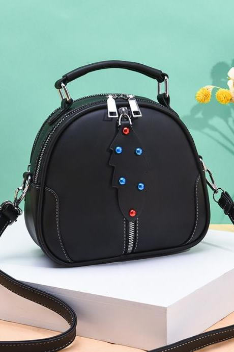 Cute Women Crossbody Bags Leather Mini Female Shoulder Bag Handbags - Black