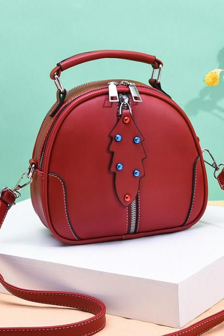 Cute Women Crossbody Bags Leather Mini Female Shoulder Bag Handbags - Wine Red