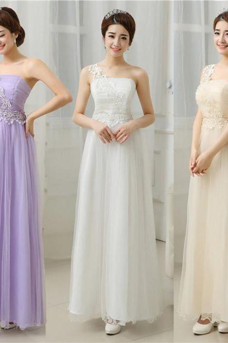 Nice One Shoulder Backless Dress Sweet Bridesmaid Prom Dress Evening Gown Dress (3 Colors)