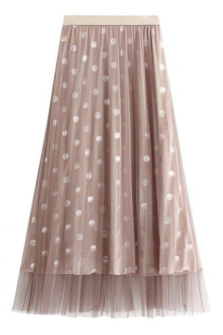 Sweet Dot Women Gauze Skirt With Sequins