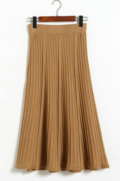 Autumn Winter Long Knitted Skirts Women Solid Color High Waist Casual Warm A-Line Skirt - Brown