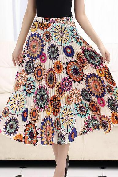 Women Summer Chiffon Floral Print Pleated Long Skirt