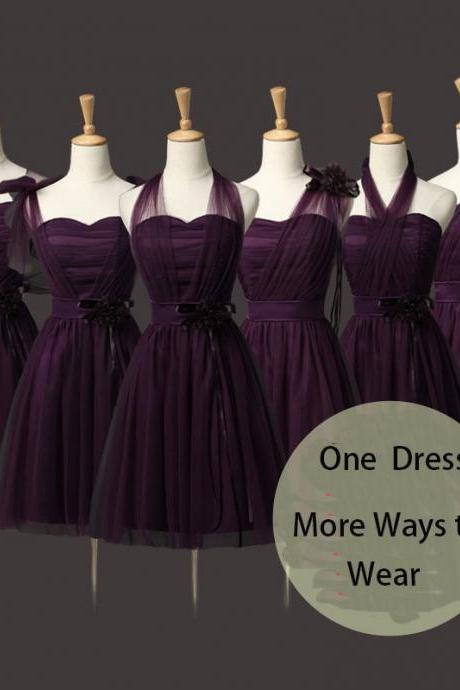 Convertible Bridesmaid Dresses Mini Cheap Wedding Bridesmaid Dresses Formal Party Dresses - Dark Purple
