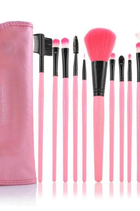Free Shipping,12 PCS Professioal Makeup Brush Set - Pink