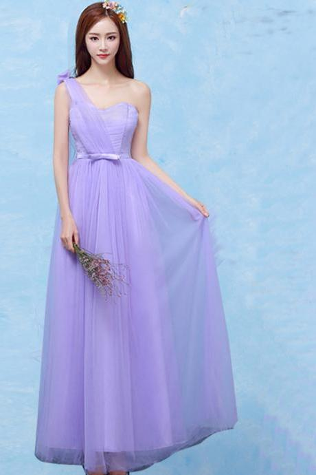One Shoulder Formal Wedding Bridesmaid Dresses Evening Party Dress - Purple
