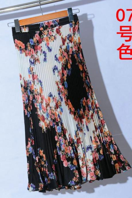 Summer Chiffon Print Pleated Long Skirt