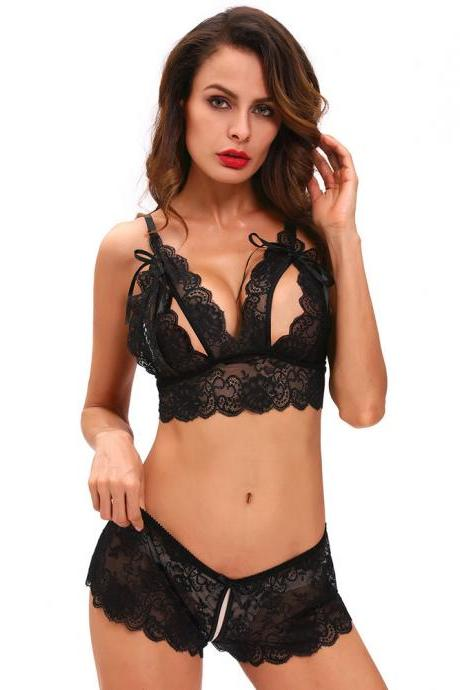 Black Two-Piece Lingerie Set Featuring Lace Plunge V Camisole and Boyshorts