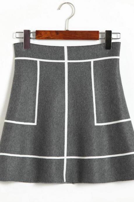 New Sweet A-line Knit Thin Skirt - Grey & White