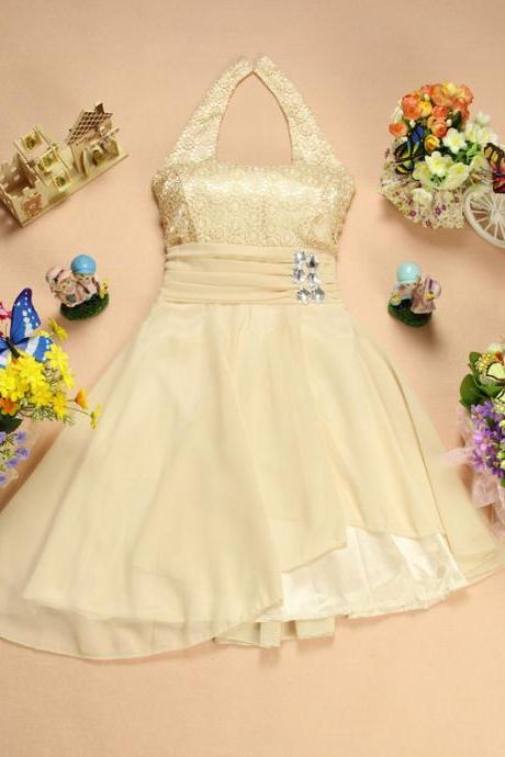 Free Shiping Cute Women Halter Beading Decoration Mini Dress Bridesmaid Wedding Dres