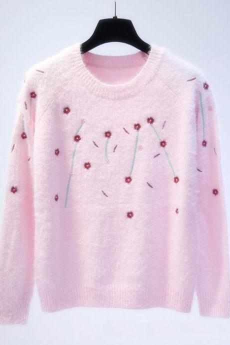 Floral Knitted Sweater - Pink