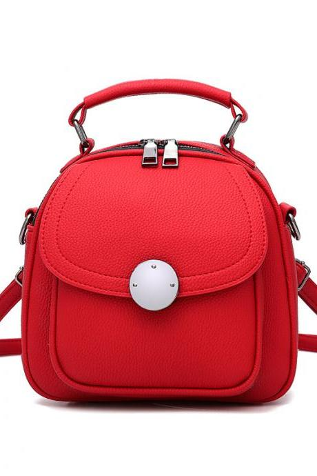 Cute Backpack Small Bag School Mini Girls Women Leather Shoulder Bag - Red