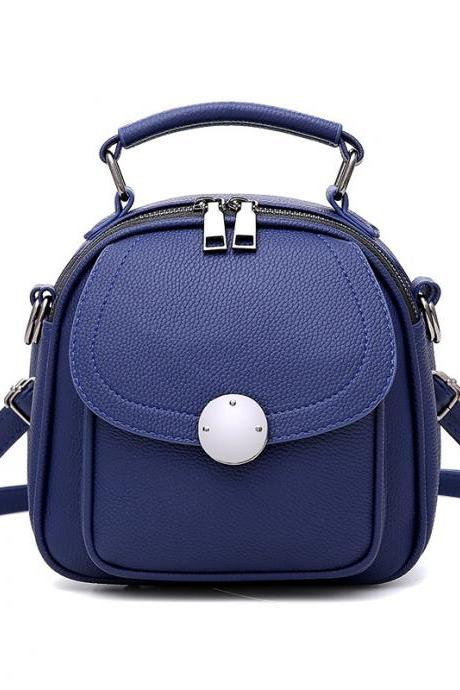 Cute Backpack Small Bag School Mini Girls Women Leather Shoulder Bag - Blue
