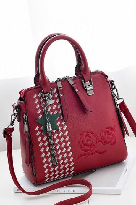 New Flower Style Women Fashion Handbag Crossbody Shoulder Bag - Wine Red