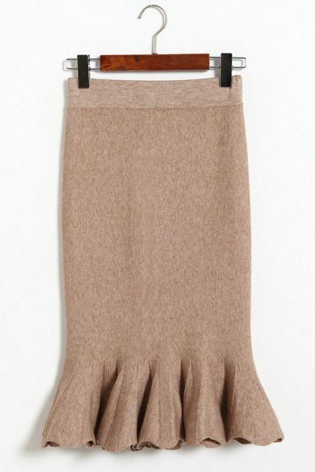 Women Sexy Solid Color Fishtail knitting Slim Skirt - Khaki