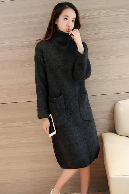 New High Neck Pocket Long Sleeve Knit Sweater - Black