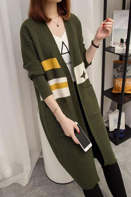 New Autumn Long Sweater Loose Coat - Green