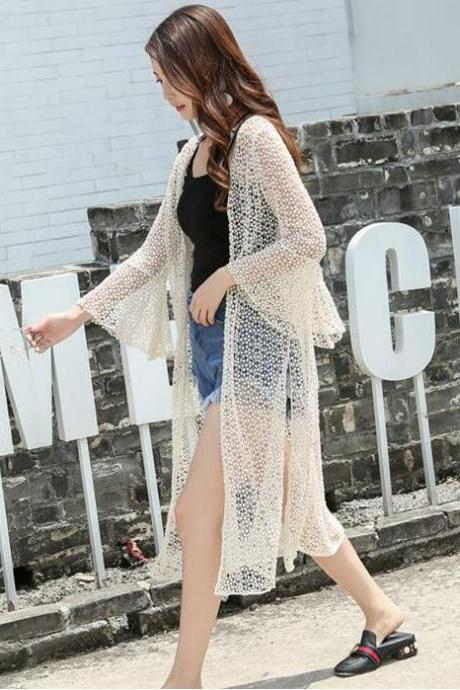 Beachwear Bikini Cover up Women Long Lace Cardigan Long Sleeves Tops