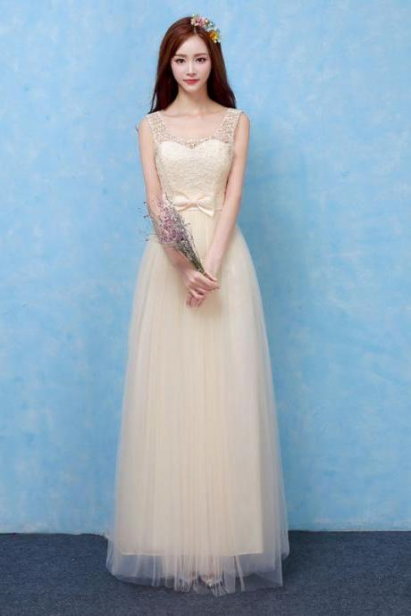 Good Quality Women Long Evening Party Dress Bridesmaid Wedding Dress - Champagne