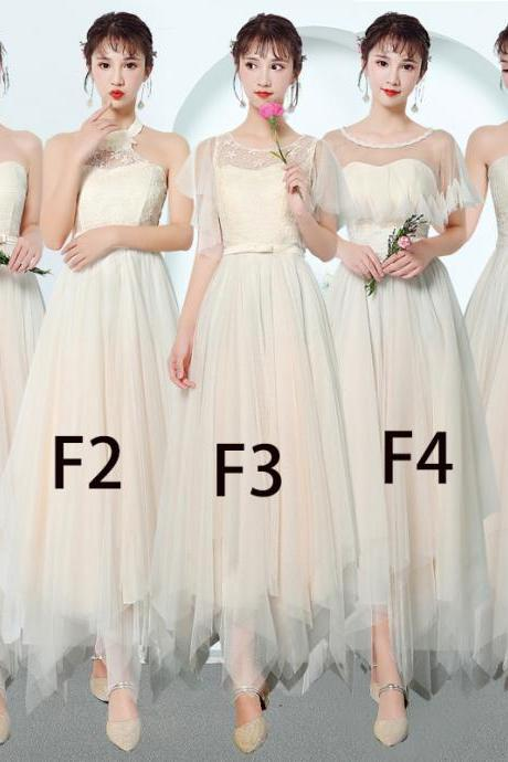 Women Bridesmaid Prom Party Evening Dress Ladies Long Wedding Dress - Beige