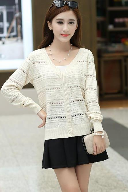 Fshion Autumn Hollow loose knit cardigan sweater short jacket