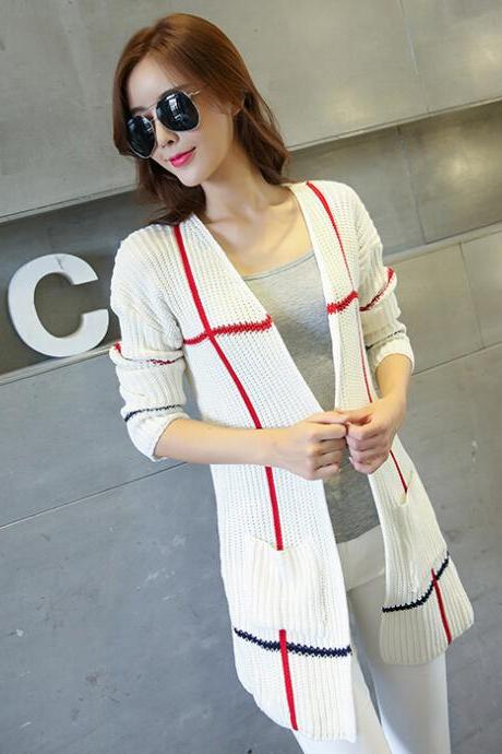New women's sweater stripe loose casual long cardigan coat