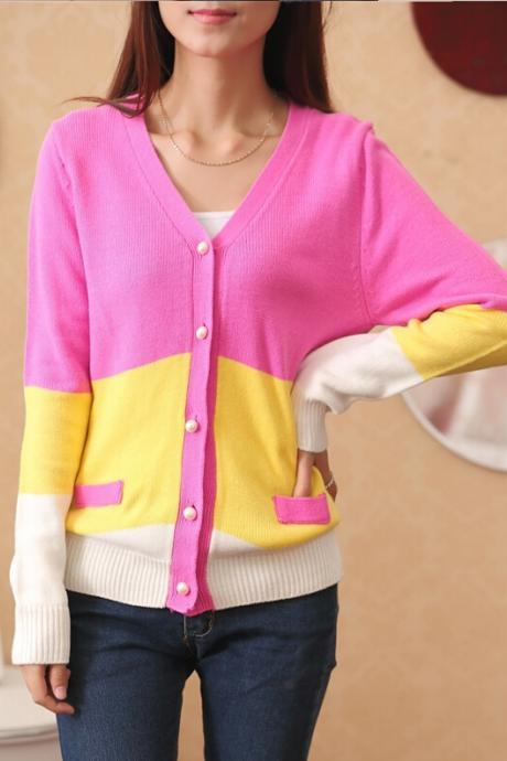 Fashion sweater long sleeved cardigan sweater coat
