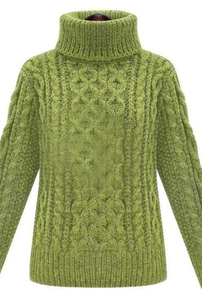 Autumn Green High-Collar Long Sleeve Pullovers Sweater
