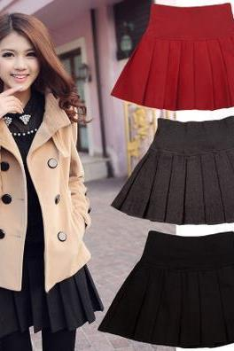 New Autumn And Winter wool pleated Women Skirt